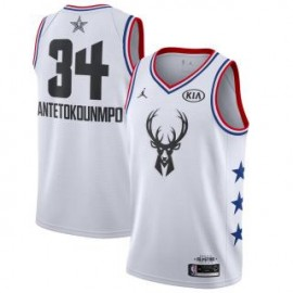 Camiseta Giannis Antetokounmpo #34 Milwaukee Bucks 2019 All Star Blanco