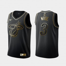 Camiseta Dwyane Wade #3 Miami Heat 2019 Negro Gold Edition
