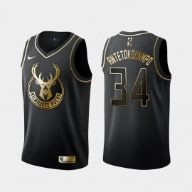 Camiseta Giannis Antetokounmpo #34 Milwaukee Bucks 2019 Negro Gold Edition