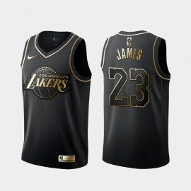 Camiseta LeBron James #23 Los Angeles Lakers 2019 Negro Gold Edition