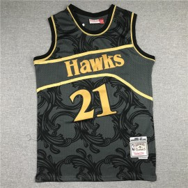 Camiseta Dominique Wilkins #21 Atlanta Hawks Negro Classic Edition