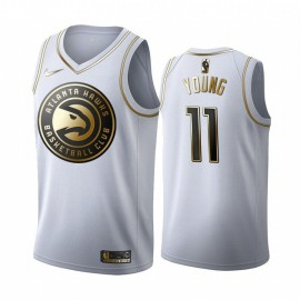 Camiseta Trae Young #11 Atlanta Hawks 19/20 Blanco Gold Edition
