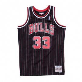 Camiseta Scottie Pippen #33 Chicago Bulls Negro Con Rayas Mitchell & Ness Edition