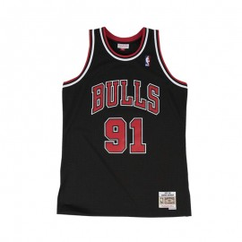Camiseta Dennis Rodman #91 Chicago Bulls Negro Mitchell & Ness Edition