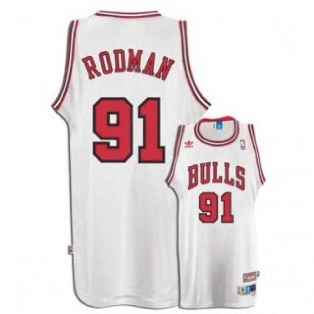 Camiseta Dennis Rodman #91 Chicago Bulls Blanco