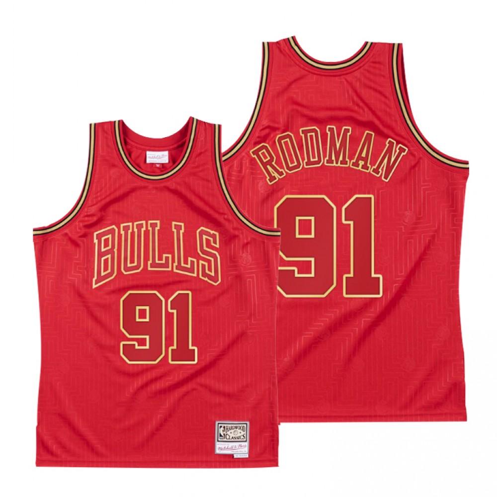 Camiseta Dennis Rodman #91 Chicago Bulls Rojo Limited Edition