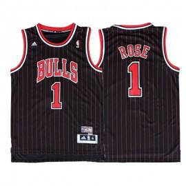 Camiseta Derrick Rose #1 Chicago Bulls Negro Con Rayas