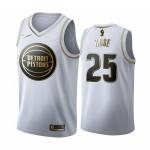 Camiseta Derrick Rose #25 Detroit Pistons 19/20 Blanco Gold Edition
