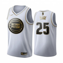 Camiseta Derrick Rose #25 Detroit Pistons 19/20 Blanco Gold Edition