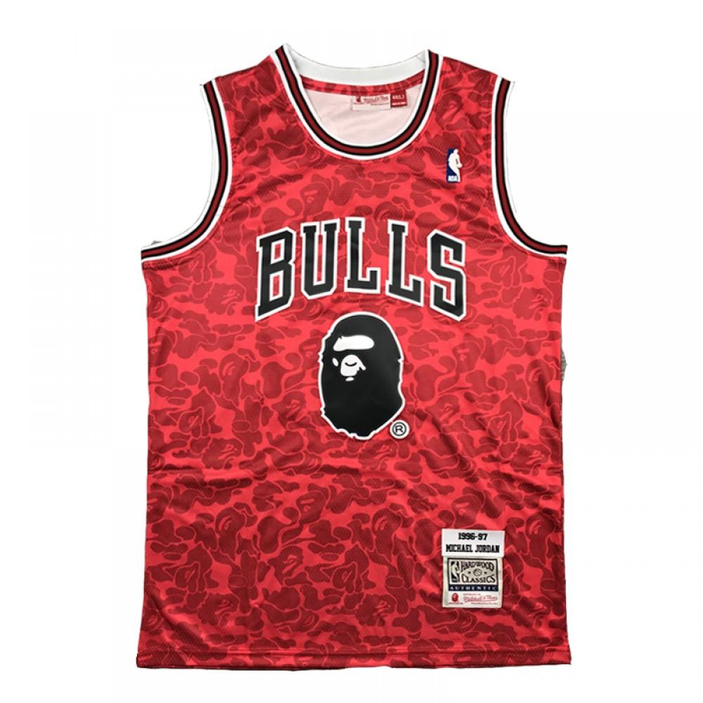 Camiseta Michael Jordan #23 Chicago Bulls Rojo BAPE Edition