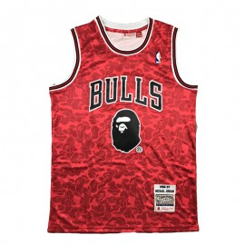Camiseta Michael Jordan #23 Chicago Bulls Rojo BAPE Edition