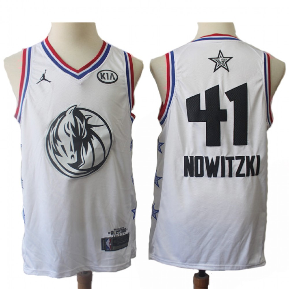 Camiseta Dirk Nowitzki #41 Dallas Mavericks 2019 Blanco All Star