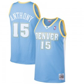 Camiseta Carmelo Anthony #15 Denver Nuggets 03/04 Azul Retro