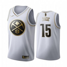Camiseta Nikola Jokic #15 Denver Nuggets 2019/20 Blanco Gold Edition