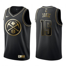 Camiseta Nikola Jokic #15 Denver Nuggets 2019/20 Negro Gold Edition