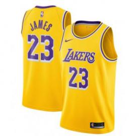 Camiseta LeBron James #23 Los Angeles Lakers 18/19 Amarillo Icon Edition