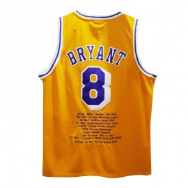 Camiseta Kobe Bryant #8 Los Angeles Lakers Amarillo Honor Edition