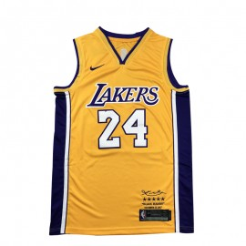 Camiseta Kobe Bryant #24 Los Angeles Lakers Amarillo Retirada Edition