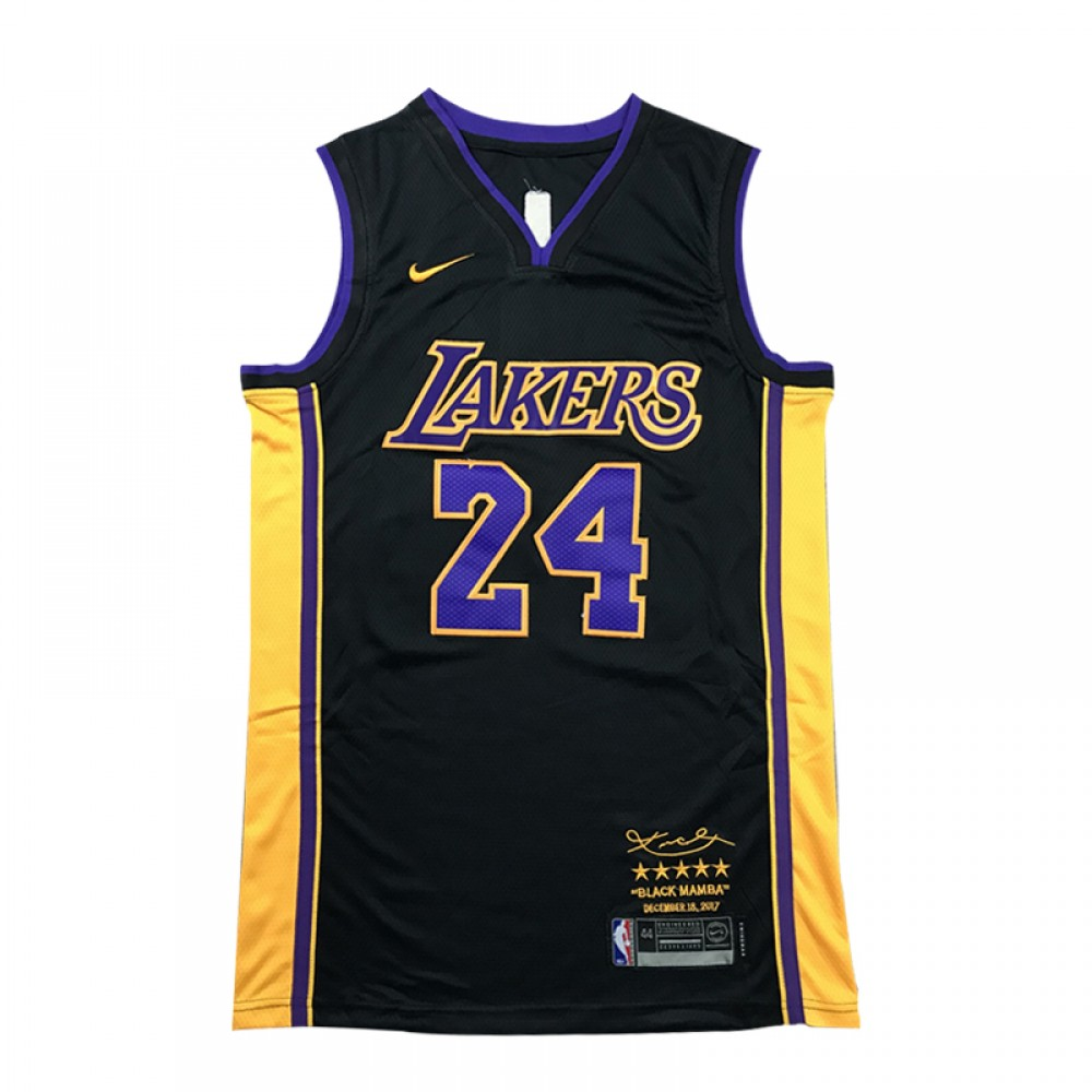 Camiseta Kobe Bryant #24 Los Angeles Lakers Negro Retirada Edition