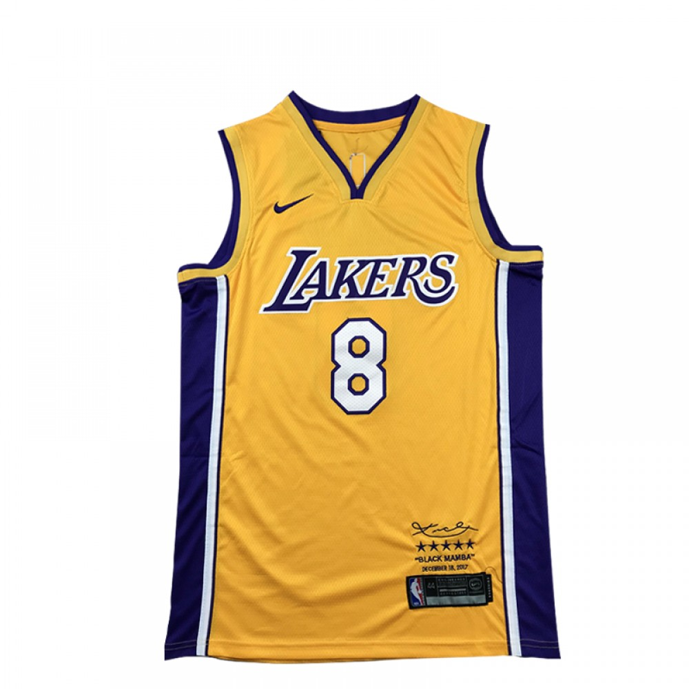 Camiseta Kobe Bryant #8 Los Angeles Lakers Amarillo Retirada Edition