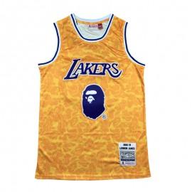 Camiseta LeBron James #23 Los Angeles Lakers Amarillo BAPE Edition