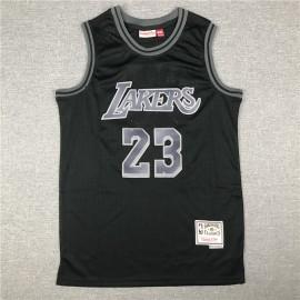 Camiseta LeBron James #23 Los Angeles Lakers Negro Classic Edition