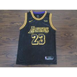 Camiseta LeBron James #23 Los Angeles Lakers Negro City Edition