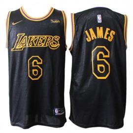 Camiseta LeBron James #6 Los Angeles Lakers 19/20 Negro City Edition