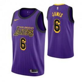 Camiseta LeBron James #6 Los Angeles Lakers 19/20 Púrpura City Edition