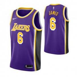 Camiseta LeBron James #6 Los Angeles Lakers 19/20 Púrpura Statement Edition