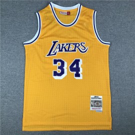 Camiseta Shaquille O'Neal #34 Los Angeles Lakers Amarillo Classic Edition