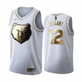 Camiseta Ja Morant #12 Memphis Grizzlies 19/20 Blanco Gold Edition