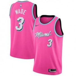 Camiseta Dwyane Wade #3 Miami Heat 18/19 Rosa Earned Edition