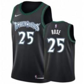 Camiseta Derrick Rose #25 Minnesota Timberwolves Negro Classic