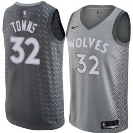 Camiseta Karl-Anthony Towns #32 Minnesota Timberwolves 17/18 Gris City Edition