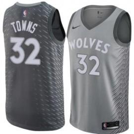 Camiseta Karl-Anthony Towns #32 Minnesota Timberwolves 17/18 Gris City Edition