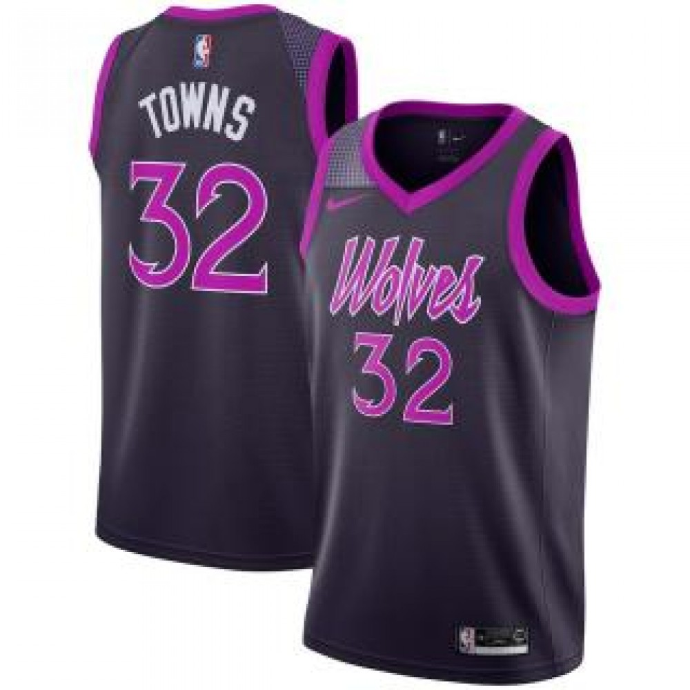 Camiseta Karl-Anthony Towns #32 Minnesota Timberwolves 18/19 Púrpura City Edition