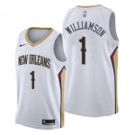 Camiseta Zion Williamson #1 New Orleans Pelicans 17/18 Blanco Association