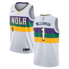 Camiseta Zion Williamson #1 New Orleans Pelicans 18/19 Blanco City Edition