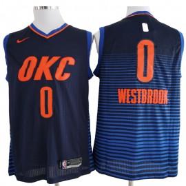 Camiseta Russell Westbrook #0 Oklahoma City Thunder 17/18 Azul Marino Statement