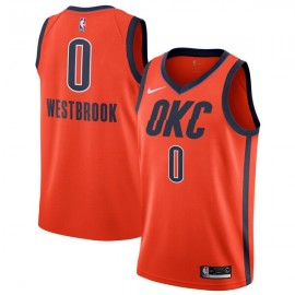 Camiseta Russell Westbrook #0 Oklahoma City Thunder 18/19 Naranja Earned Edition