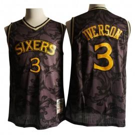 Camiseta Allen Iverson #3 Philadelphia 76ers Retro Camouflage Negro