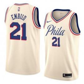 Camiseta Joel Embiid #21 Philadelphia 76ers 17/18 Beige City Edition
