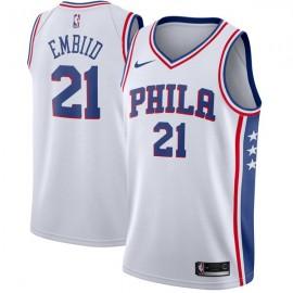 Camiseta Joel Embiid #21 Philadelphia 76ers 17/18 Blanco Association Edition