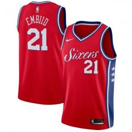 Camiseta Joel Embiid #21 Philadelphia 76ers 17/18 Rojo Statement Edition