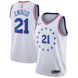 Camiseta Joel Embiid #21 Philadelphia 76ers 18/19 Blanco Earned Edition