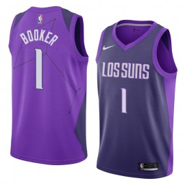 Camiseta Devin Booker #1 Phoenix Suns 17/18 Púrpura City Edition