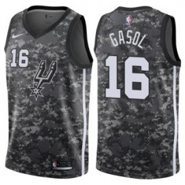 Camiseta Pau Gasol #16 San Antonio Spurs 17/18 Negro City Edition