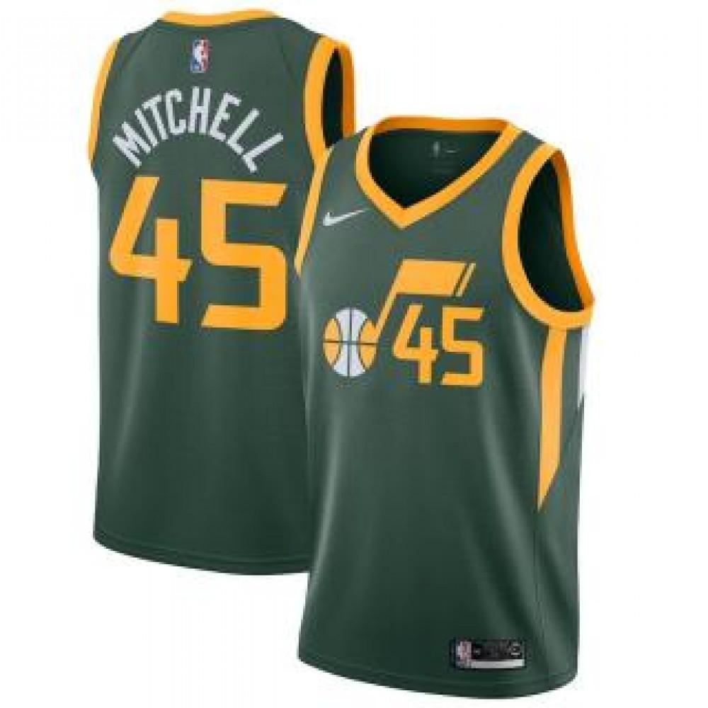Camiseta Donovan Mitchell #45 Utah Jazz 18/19 Verde Earned Edition
