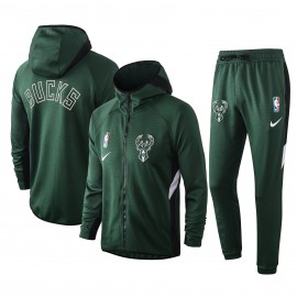 Chandal Milwaukee Bucks Con Capucha Verde Oscuro